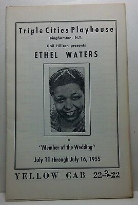 """Triple Cities Playhouse 1955 Playbill Ethel Waters """"Member of the Wedding"""""""
