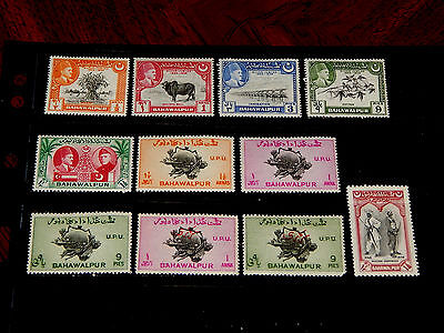 Bahawalpur stamps - 11 mint hinged early stamps - nice group !!