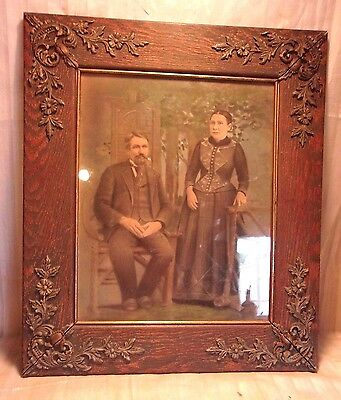 Large Antique victorian OAK FRAME 24 1/2 X 28 1/2  holds 16X20 molding 4 1/4""