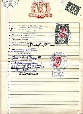 Panama Revenue Paper + Stamps on Complete Document.