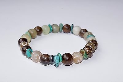 Natural Gemstone - Creative Intention Mala Bracelet - Turquoise, Jade & Bronzite