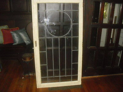 Antique leaded glass window door  No cracks or chips in window