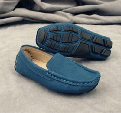 Boy's Girl's Slip On Casual Loafers Soft Round Toe Flats Genuine Suede Shoes  cg