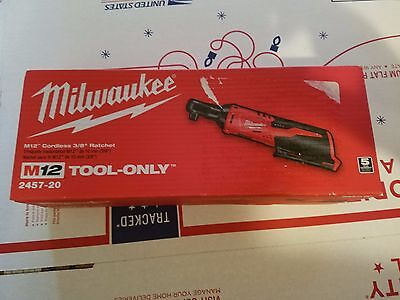 "12 Volt M12 Cordless 3/8"" Ratchet (Tool Only) Milwaukee 2457-20 New"