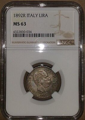 1892R Italy Italian Lira NGC MS 63 TOP POPULATION! Finest Example Known. RARE!