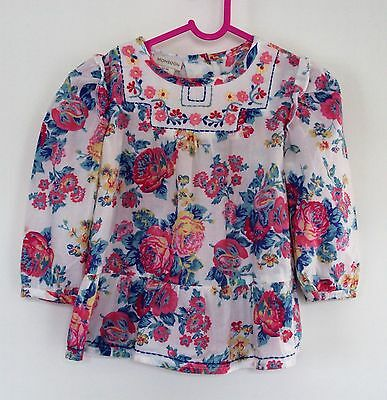 baby girls Monsoon white floral top, age 12-18 months.