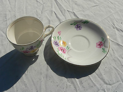 Crownford, Collectable China Cup & Saucer, hand Painted Flower Design