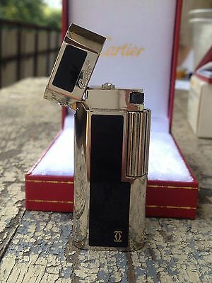 Cartier Fine Classic Silver And Black Color Gas Lighter