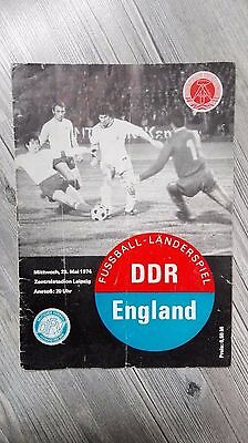 Football Programme 1974 East Germany DDR GDR  v England country game