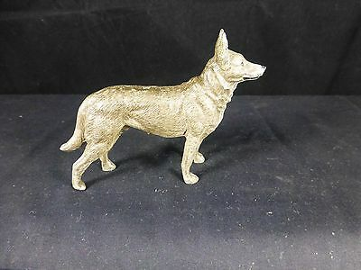 "Antique Cast Metal GERMAN SHEPHERD DOG  Figurine Painted Germany 4"" L X 3"" H"