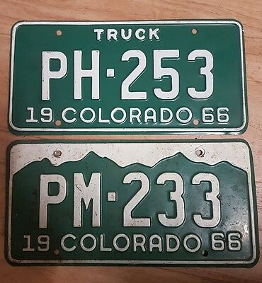 2x Vintage Colorado USA Licence Number Plates - American Old Licenses - 1960s
