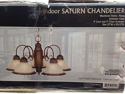 "Patriot Lighting 5 Light 23"" Weathered Patina Chandelier Saturn Indoor Hanging"