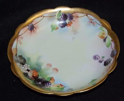 RARE signed W A  Pickard bowl hand painted berries gold gilt stamped limoges