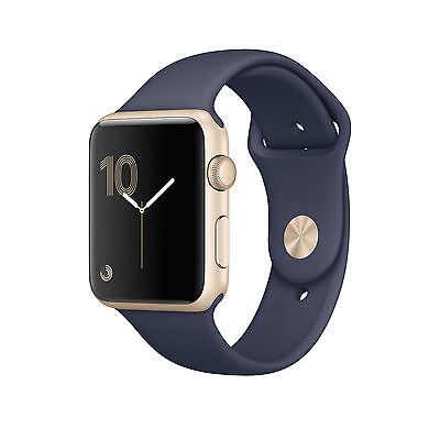 Apple Watch Series 2 42mm Gold Aluminium Case Midnight Blue Sport Band - (MQ152…