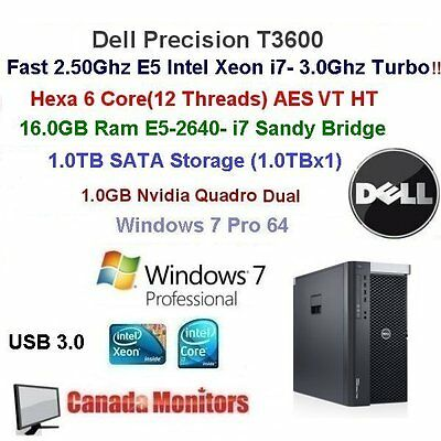 Dell Precision T3600 6 Core Studio 3.0Ghz E5-2640 16GB Ram 1TB Windows 7 Pro