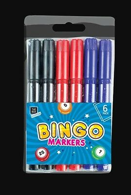 Bingo Markers 6 Dabbers Pens Coloured Set Felt Black Red Blue