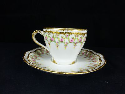 Haviland Limoges Demitasse Cup &Saucer Set Pink Rose Swag Vine Drop Double Gold