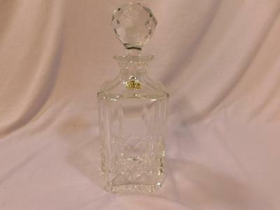 Decanter Atlantis Crystal Marked, Square Block, Faceted Stopper, Glass
