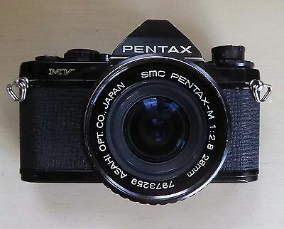PENTAX MV Camera + SMC Pentax-M 28mm f2.8 lens, Pentax Flash, Booklet, 3 Films