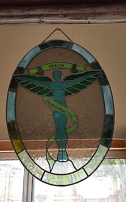 Health Chiropractic Sign Vintage Massage Office Medical Clinic stained glass