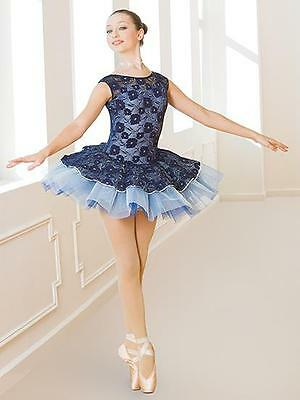 Dance Costume Medium Adult Blue Lace Tutu Ballet Pointe Solo Competition Pageant