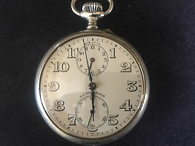 Vintage Longines Open Face Silver Tone Pocket Watch - Working Conditions