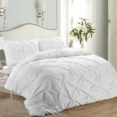 Vintage Pure 100% Cotton Ruched Puckering Pintuck Pinch Pleat Duvet Cover Set