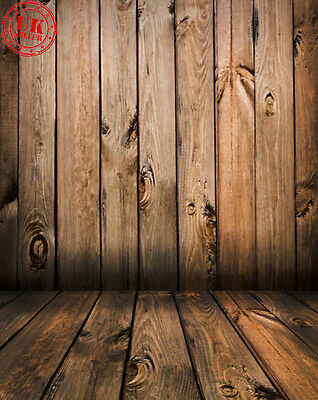 Brown Wood Wall Floor Baby Backdrop Background Vinyl Photo Prop 5X7Ft 150X220Cm