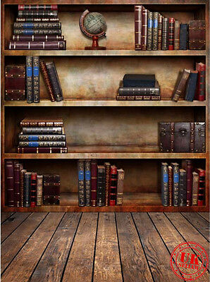 School Books Shelf Brown Backdrop Background Vinyl Photo Prop 5X7Ft 150X220Cm