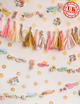 PINK BIRTHDAY BUNTING BABY BACKDROP BACKGROUND VINYL PHOTO PRO 5X7FT 150CMx220CM