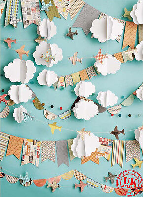 BLUE SKY PLANE CLOUD DECOR  BACKDROP BACKGROUND VINYL PHOTO PROP 5X7FT 150x220CM