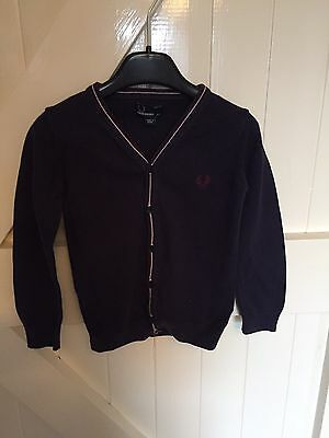 Boys Navy Fred Perry Cardigan Size 4-5 Years Old