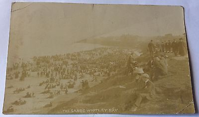 Early Real Photo Postcard Busy Scene The Sands Whitley Bay 1910