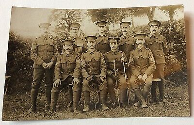 Early Real Photo Military Postcard Sergeants To A Rifle Brigade