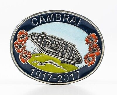 Ww1 1917-2017 Battle Of The Cambrai Enamel Badge - With Detailed British Tank
