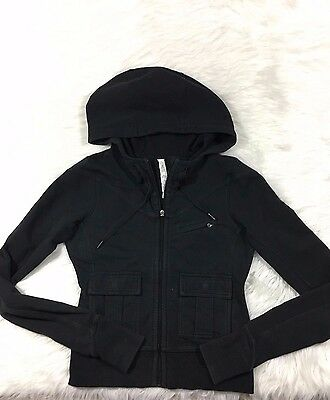 Lululemon Women's Black Long Sleeve Full Zip Up Hoodie with Front Pockets Size 4