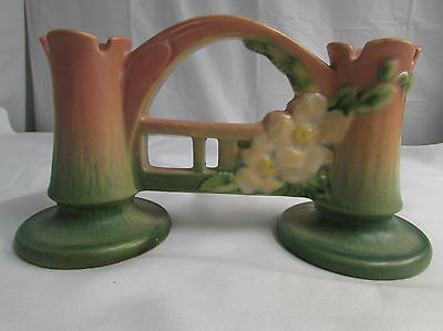 Vintage 1940s Roseville Art PotteryWhite Rose Double Bud Vase #148 LOOK!!
