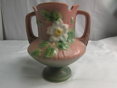 Vintage 1940s Roseville Art Pottery White Rose Double Handle Urn Vase 146-6 LOOK