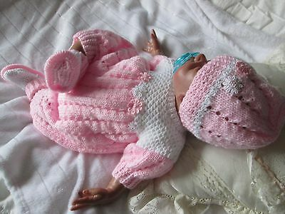 "new hand knitted  set 3 piece 0 /3 month baby  or reborn doll 18""22"""