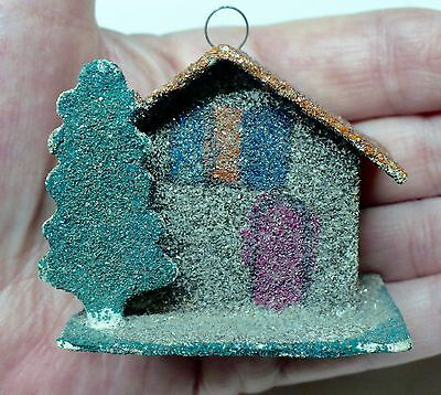 Vintage Putz House with Tree Christmas Ornament JAPAN Mica Glitter Cardboard