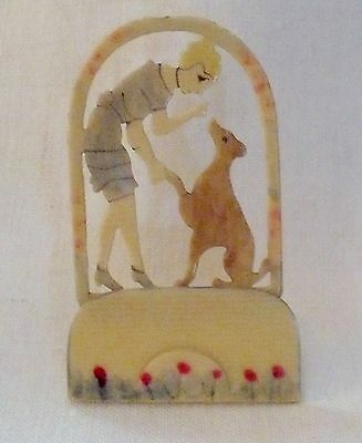 Vintage 1930's Tinted Celluloid  Place Card Holder Girl Dog Flowers Excellent