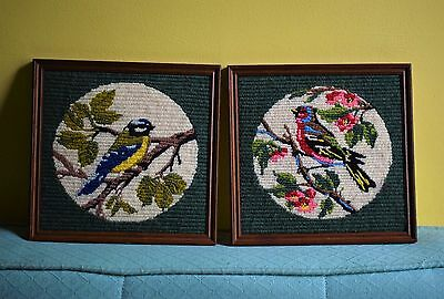 Pair Vintage Needlepoint Embroidery Tapestry Shabby Chic Blue Tit Bird Pictures