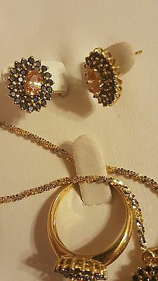 Genuine Citrine & Black Diamond Ring, Earring, Pendant Set Jewelry 14KT