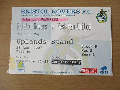 Bristol Rovers v West Ham United 28 Aug 2007 Carling Cup Match Ticket
