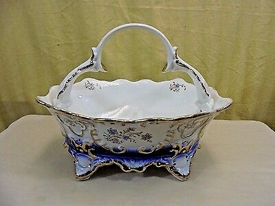 Vintage Romania Arpo Curtea De Arges Fine Porcelain Cobalt & Gold Footed Basket