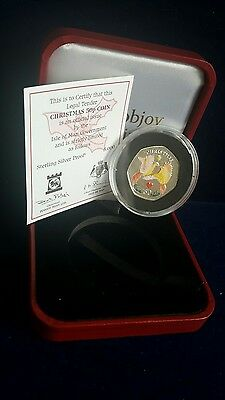 2006 Isle Of Man Silver Proof Coloured Two Turtle Doves Christmas 50P & Coa