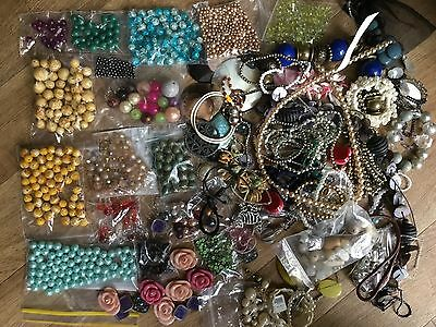 Huge job lot costume broken jewellery for harvesting including bags of beads