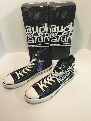 Naughty By Nature, Trpl Threat Hip Hop Sneakers Black Chuck Style Mens Sz. 10
