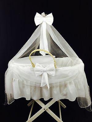 Personalised White Cotton And Voile Drape Moses Basket Cover (NEXT DAY DISPATCH)