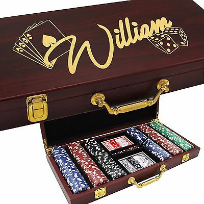 Personalized Engraved Custom Rosewood Poker Case Set -  300 Chip Set